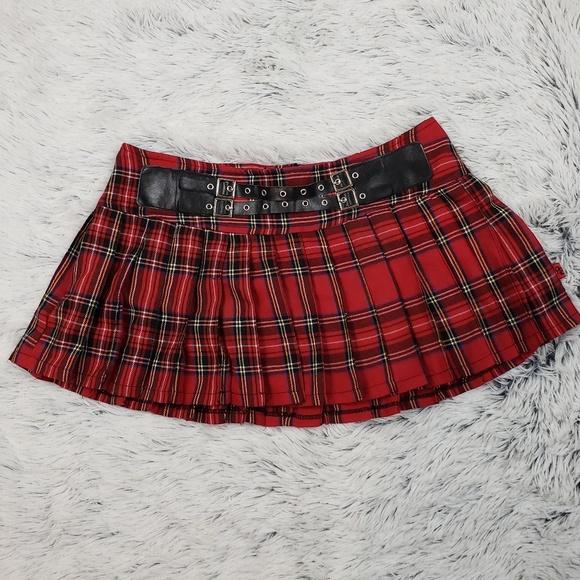 935d57d44 Royal Bones Skirts | Gothic Red Plaid Pleated Mini Skirt M | Poshmark